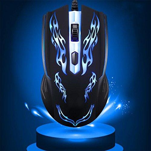 hkhuixin Wired Mouse beleuchtet 2verschiedene Arten von Stufen verstellbar DPI 800/1200Circular & Colorful LED Beleuchtung Fixierer-Beweis rutschfest 3d (Farbe zufällig) (Arten Der Katze Kostüm)