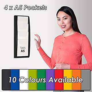 Wonderwall Plastic Wall Mounted Leaflet Dispenser/Display Holder 4 x A5 Pocket - 10 Colours, incl. (Grey)