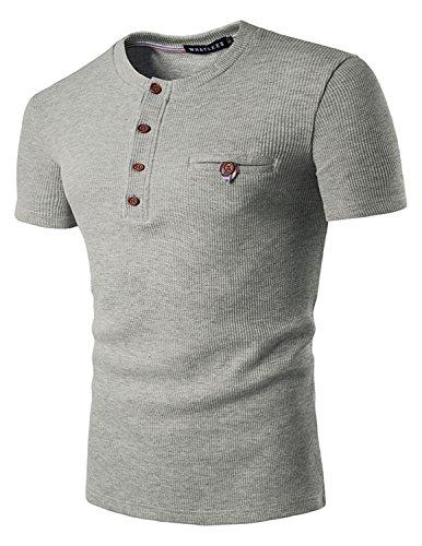 YCHENG Herren Basic Henley T-Shirts Kurzarm mit Knopfleiste Grau 2