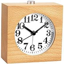 Nightwolf ® Classico fatto a mano Legno massiccio Piazza Sveglia Silenzioso sonnellino Luce notturna Funzione Orologio da tavolo