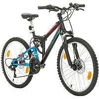 Bikesport PARALLAX Bicicleta De montaña Doble suspensión 24 ruedas, Shimano 18 velocidades (Azul negro)