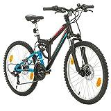 """Bikesport Parallax 24"""" Bicicletta Biammortizzata Doppia Sospensione (Nero Blu)"""