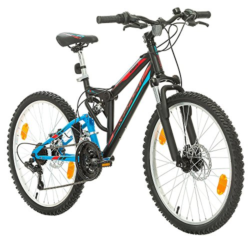 Fahrrad MTB Mountainbike Fully Full Suspension 24 Zoll Bikesport PARALLAX Shimano 18 Gang (Schwarz Blau)