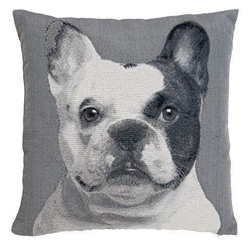 gefüllt Französische Bulldogge Baumwolle-Mischgewebe schwarz grau creme Gobelin 45,7cm Kissen, 45cm (Bulldogge Französische Gefüllt)
