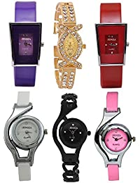 Freny Exim Jewellery Bracelet Style Combo Of 6 Analogue Multicolor Dial Womens Watches For Girls