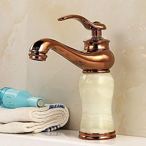 Tougmoo Toilettes pour robinets Continental antique Lavabo Robinet rétro Armoire de salle de bain de jade Doré robinet chaude et froide en cuivre, Or Rose Saphir