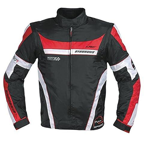 Blouson Oxford Nylon Homme Textile CE Protections Thermique Moto rouge