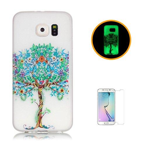 CaseHome Samsung Galaxy S6 Edge Plus Luminous Hülle (Mit Frie Displayschutzfolie) Leuchtende Silikone Rückhülle Für iPhone 6 6s Plus 5.5 Zoll Zoll Silikon Etui Handy Hülle Weiche Transparente Luminous Baum des Lebens
