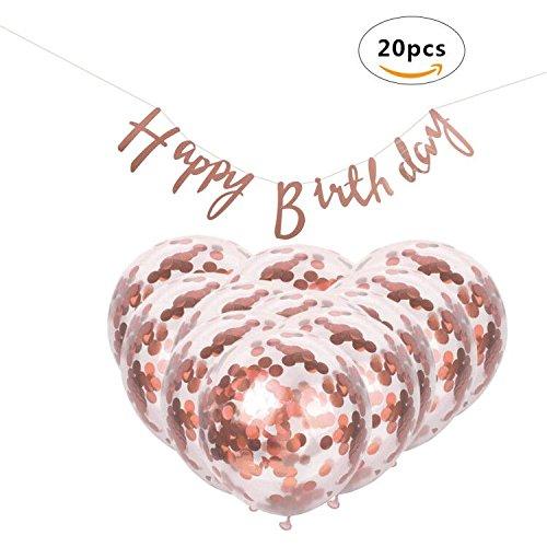 CXvwons 20 Stück Konfetti Luftballons, Geburtstag Dekoration Mädchen und Jungen, 12 inch Latex Luftballons mit Folie Konfetti + Happy Birthday Girlande Partyballon, Farbige Ballons, Bunte Ballons für Geburtstagsfeiern, Party Roségold