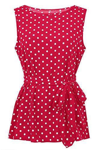 Evelure Damen Ärmellos Vintage Punkt Bluse Wrap Polka Dots Top Bluse T Shirt Polka Dots Und Gürtel (Rot,S) -