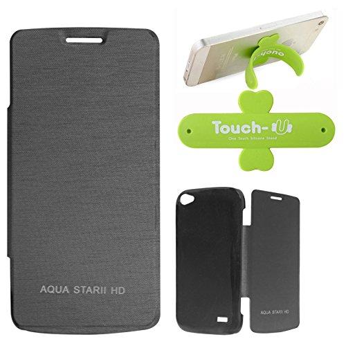 DMG Premium Diary Flip Book Cover Case for Intex Aqua Star II HD (Black) + Touch U Mobile Stand