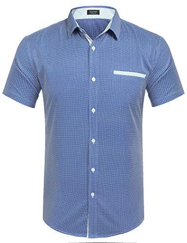 Qioti Herren Hemd Kurzarm Freizeithemden Kentkragen Regular Fit Sommer Shirt für Männer, L, Marine Blau