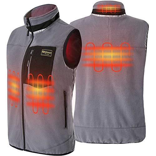 PROSmart Beheizbare Weste Leichtgewichts Fleece Beheizte Weste mit USB Akku, Unisex (Grau, XL)
