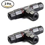 ATPWONZ 2pcs IP68 T Forma Caja de Empalmes de Plástico de Impermeable 3 Polos PVC para Cable de Diámetro Ø5mm - 10.5 mm (Negro)