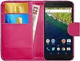 G-Shield Hülle für Google Nexus 6P Klapphülle mit Kartenfach - Rosa