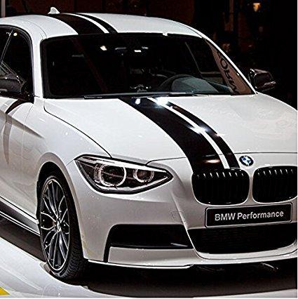 Rally Racing Vinile Strisce Adesive Decalcomania Per Auto CofanoTetto e Bagagliaio Nero 120 x 20cm