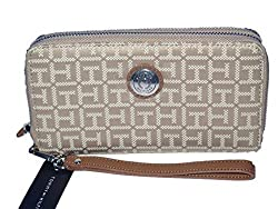 Tommy Hilfiger Tan Beige Signature Large Double Zip Wristlet Phone Wallet