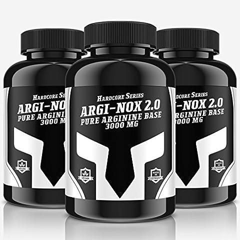 ARGI-NOX 2.0 - 240 Tabletten für 40 Tage Anwendung | Vegan | Reines Arginin Base für mehr Pump und eine bessere Durchblutung | Muskelaufbau + Pre-Workout Made in Germany