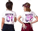 Best Freund Best Friends Sisiter Shirt mit farbigen Aufdruck für Zwei Shirts mädchen Damen Tops Sommer Oberteil 2 Stücke BFF Geschenke(Sister-01-M+02-M)