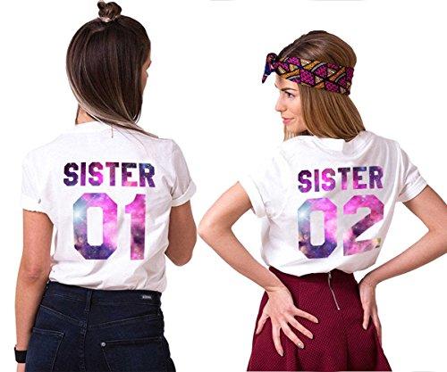 Best Freund Best Friends Sisiter Shirt mit farbigen Aufdruck für Zwei Shirts mädchen Damen Tops Sommer Oberteil 2 Stücke BFF Geschenke(Sister-01-XS+02-XS)