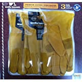 Wells Lamont Premium Leather Work Gloves 3 Pair Pack Medium by Wells Lamont