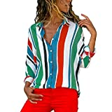 ITISME FRAUEN BLUSE Damen Casual Langarm Farbblock Streifen Button Bluse Damen Hemd Gestreift Oberteile Casual Chiffon Langar