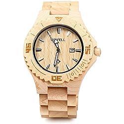 BEWELL ZS-W023B Holz Quartz Watch für Männer Datum Display leuchtende Zeiger Collection