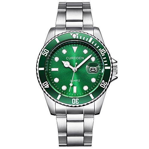 Jiangchengwen Unisex Datum GeschäFts Analog Quarz Uhr mit Edelstahl Armband Luxus Klassische Sport Militär