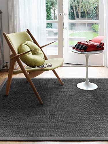 Benuta Sisal Teppich mit Bordüre, Jute, Grau, 150 x 150.0 x 2 cm - Jute Sisal-teppich