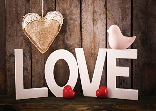 LYWYGG 7x5ft Valentinstag Hintergründe Brown Holz Wand Fotografie Kulissen Liebe Foto Hintergrund Babys Geburtstag Studio Kulisse CP-128 (Valentinstag Für Kinder)