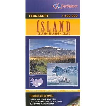 Islande 1:500.000 topographique de randonnée carte Ferdakort