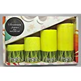 Lemongrass Scented Pillar Candles Set By Scentiments | Lemon Green (Pack Of 4), Crystal/ Marble Pillar, Gift Candle Set Of 4