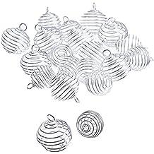 Outus 20 Piezas Cuenta Espiral Colgantes de Jaulas Accesorios de Joyería Plateado para Elaboración de Joyería, 2 Tamaños