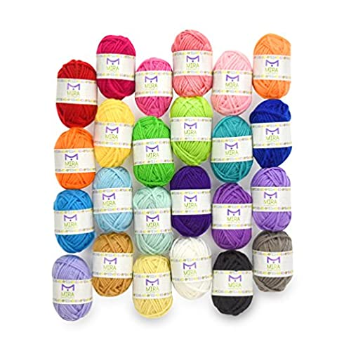 Premium value yarn pack - 24 acrylic yarn skeins - assorted colors - perfect for any crochet and knitting mini project - resealable bag - 10 bonuses with each pack
