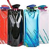 Faltbare Wasserflasche mit Karabiner [4 Packung], 700ml Flexible wiederverwendbare zusammenklappbare Wasserflaschen zum Wandern, Abenteuer, Reisen, Outdoor