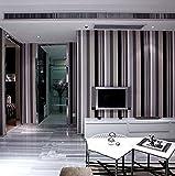 KHSKX Papel pintado de rayas verticales blancas y gris minimalista moderno, PVC relieve papel pintado pared a pared de salón dormitorio