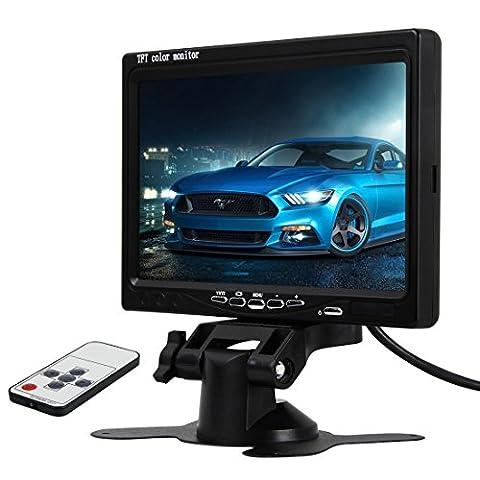Pathson 7 Pouces Couleur TFT LCD Monitor de Voiture pour Camera de recul Support de l'écran et 2 Inputs AV avec une Télécommande