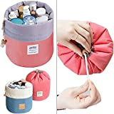 Hk Villa Bucket Barrel Shaped Cosmetic Make Up Bag Travel Case Pouch (Round Pouch)