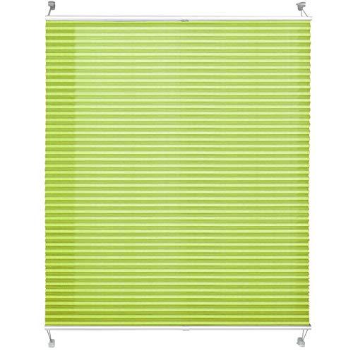 casa pura® Plissee Rollo | mit eleganter Crushed Optik | Klemmfix ohne Bohren | lichtdurchlässig & Blickdicht | hellgrün | 8 Größen (80x200cm)
