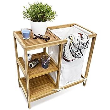 Lumaland Wäschekorb aus Bambus, mit 2 ausziehbaren