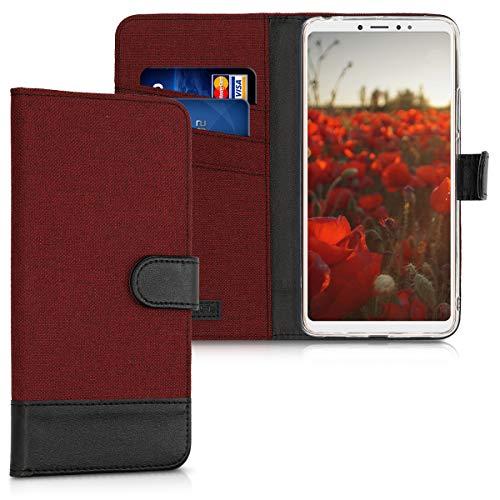 kwmobile Xiaomi Mi Max 3 Hülle - Kunstleder Wallet Case für Xiaomi Mi Max 3 mit Kartenfächern und Stand