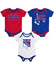 "New York Rangers NHL Reebok ""Hat Trick"" Infant 3 Pack Bodysuit Creeper Set"