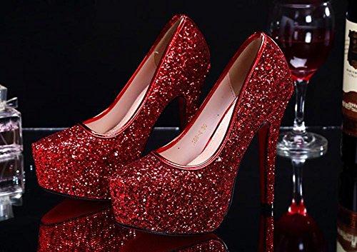 L@YC® Frauen Sommer High Heels Damen Kristall Wasserdicht Tisch Fein Mit Pailletten Tanz Sandalen Kleid Pumpe Red