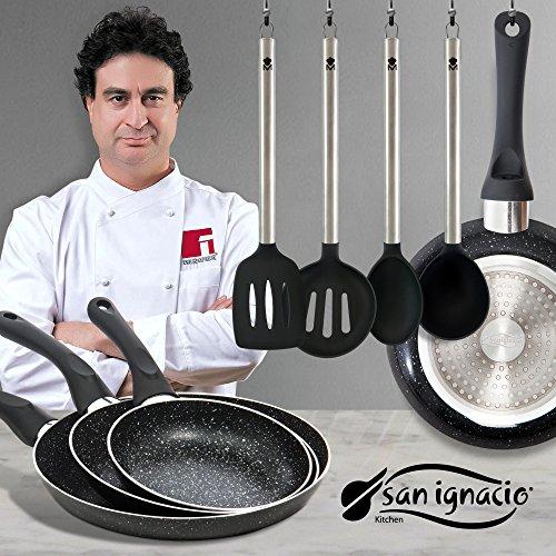 San ignacio juego de sartenes en negro y utensilios de for Juego de utensilios de cocina