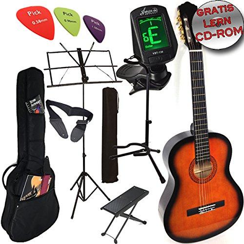 """'Ashley-Chitarra classica Set colore: Sunburst + originale """"Let' s Play chitarra scuola con CD e DVD S, Custodia, Accordatore, treppiede e più"""