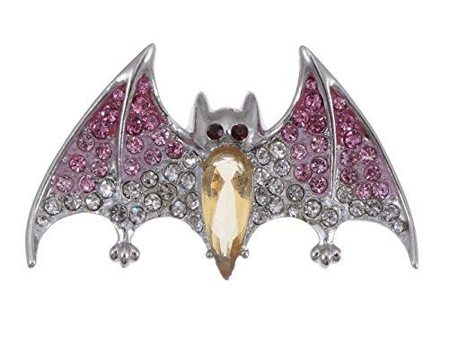 on Ombre pinkfarbenen rosa Strass Vampire Bat Flügel Brosche ()
