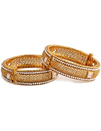 Hermynee Designer Gold Plated Pearl Studded Bangles For Women And Girls