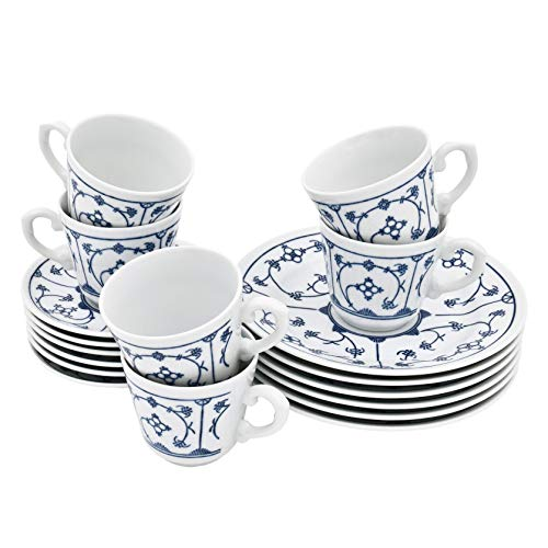 Kahla 410122O75056H Blau Saks Kaffeeservice Tee Geschirr Porzellan 18 teilig 6 Person weiß blau Kuchenteller Tasse Untertasse Komplettset Frühstück