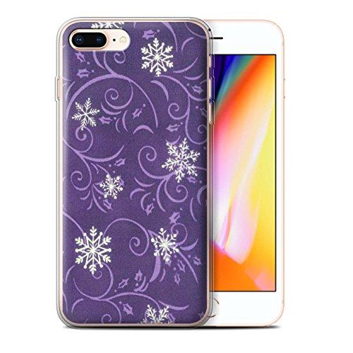 Stuff4 Gel TPU Hülle / Case für Apple iPhone 8 Plus / Pack (7 pcs) / Schneeflocke-Muster Kollektion Lila