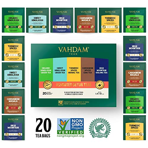 VAHDAM, surtido té desintoxicante 5 tés, 4 bolsitas